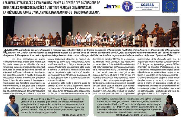 Article sur le chômage les jeunes et l'emploi à Madagascar